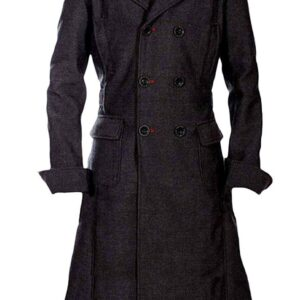 Sherlock Holmes Benedict Cumberbatch Classic Wool Long Trench Coat Costume Jacket Black