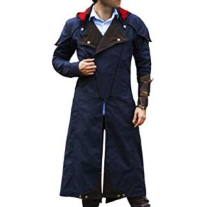 Assassin's Unity Arno Victor Dorian Denim Cloak Mens Blue Cosplay Hooded Trench Coat