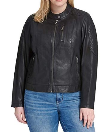 Women's Plus Faux Leather Fashion Quilted Racer Jacket