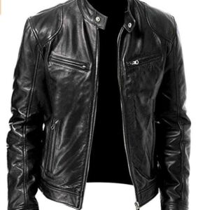 Men's Vintage Biker Cafe Racer Black Retro Motorcycle Cowhide Leather Jacket