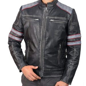 Cafe Racer Retro Classic Black Distressed Biker Leather Jacket