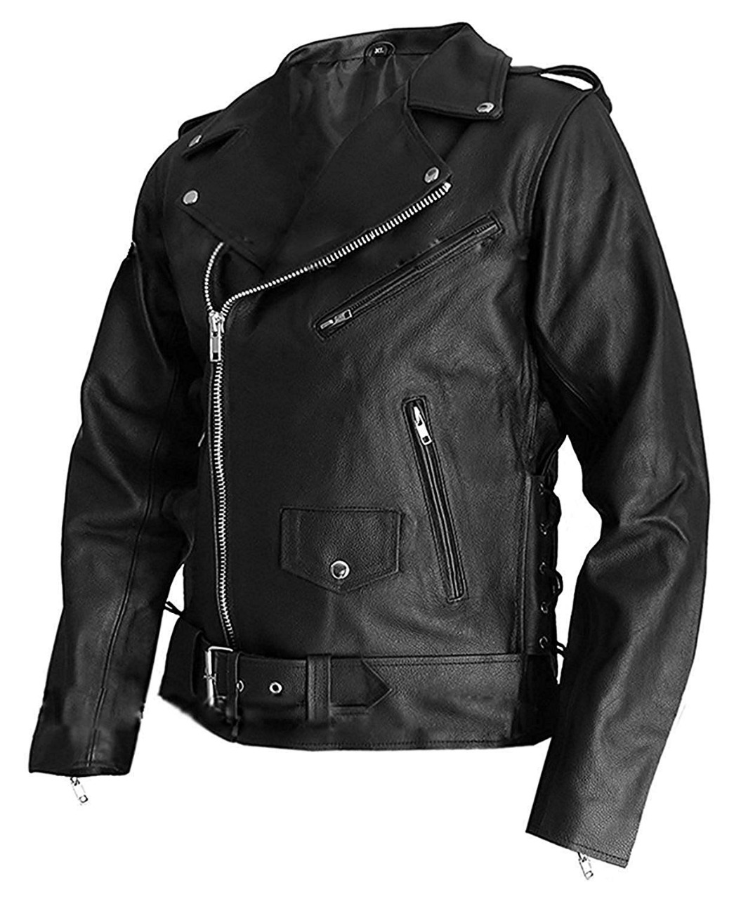 Men/'s Biker Warrior Slim Fit Motorcycle Brando Unique Style Real Sheepskin Leather Jacket