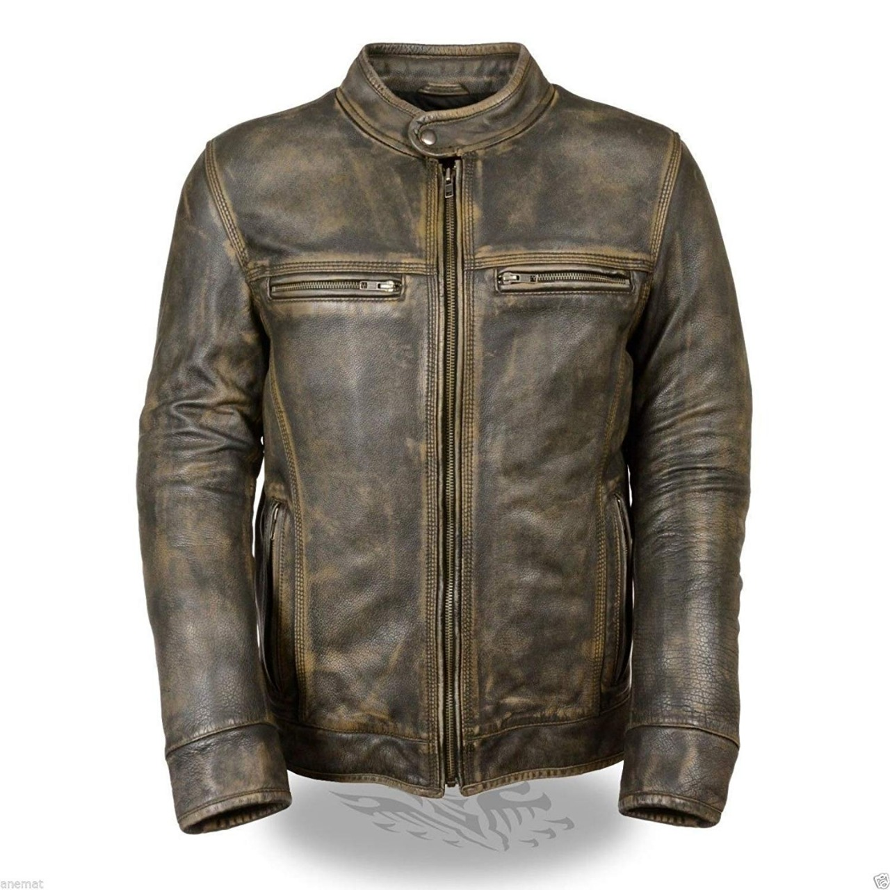 Superhero Leather Jacket Men Cafe Racer Vintage Distressed Brown Motorcycle Leather Jacket