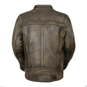 Cafe Racer Triple Stitch Retro Distressed Wax Men's Biker Vintage Leather Jacket