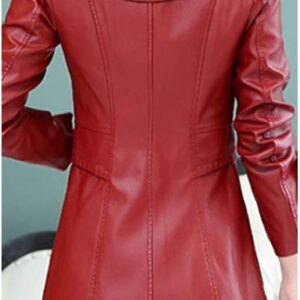 Women's Fashion Solid Single-breasted Red Leather Jacket Trench Coat