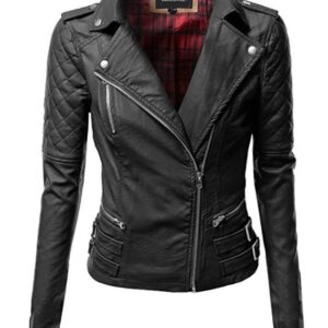 Women's Zipper Motorcycle Biker Faux Leather Jacket