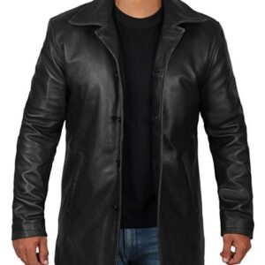 Black Leather Coat for Men