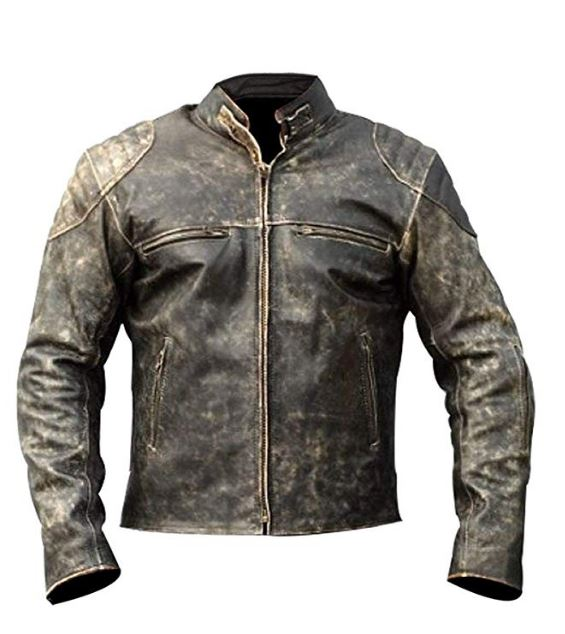 Mens Retro Style Zipped Biker Jacket PU Leather Soft Black Casual