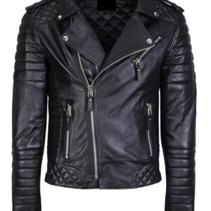 Lambskin Quilted Biker's Genuine Leather Jacket Slim Fit Kay Michael Style Leather Jacket