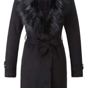 Women's Faux Suede Long Trench Coat with Detachable Faux Fur Collar