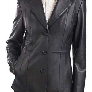 Women's Crystal Lambskin Leather Coat