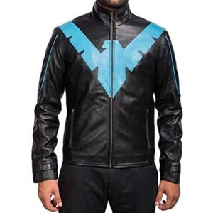 Night Wing Batman and Robin Black Blue Costume Leather Jacket