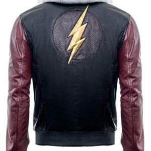 Justice League Superhero Flash Hoodie Black Real Leather Jacket