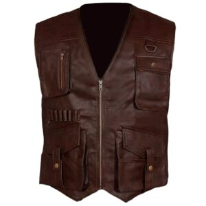 Jurassic World Fallen Kingdom Owen Grady Mens Brown Chris Pratt Leather Vest