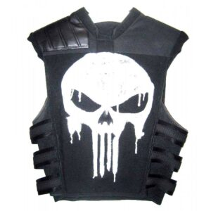 Punisher War Zone Frank Castle Tactical Black Real Leather Vest