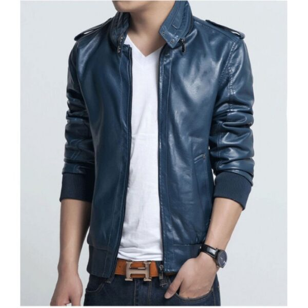 New Blue Mens Bikers Leather Jackets